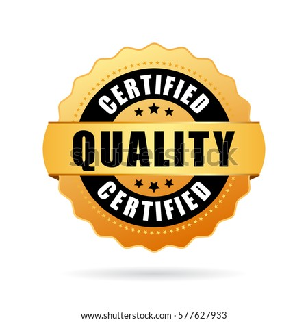 Certified quality gold seal icon on white background. Quality business icon.