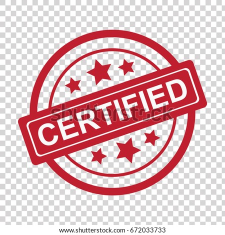 Certified red stamp icon