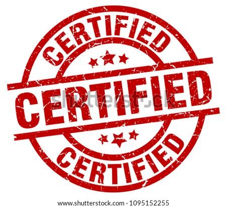 certified round red grunge stamp