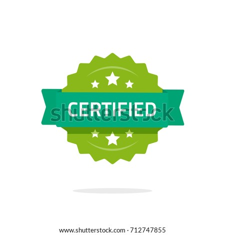 certified stamp or seal vector sign isolated on white background, flat cartoon rosette quality badge with stars and green ribbon, idea of certification sticker