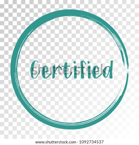 Certified stamp products icon, goods package label in frame vector design. Certified goods, food or clothing logo, products sign, round border, circle tag label, sticker, stamp, emblem.