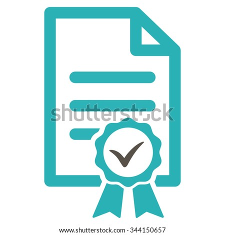 Certified vector icon. Style is bicolor flat symbol, grey and cyan colors, rounded angles, white background.