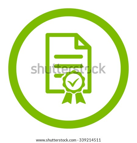 Certified vector icon. Style is flat rounded symbol, eco green color, rounded angles, white background.