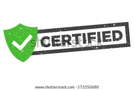 Certified vector stamp. Grunge green rubber stamp or badge with text