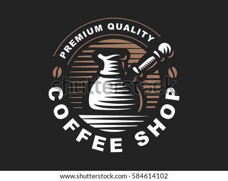 Cezve logo - vector illustration. Cofee emblem design on black background.