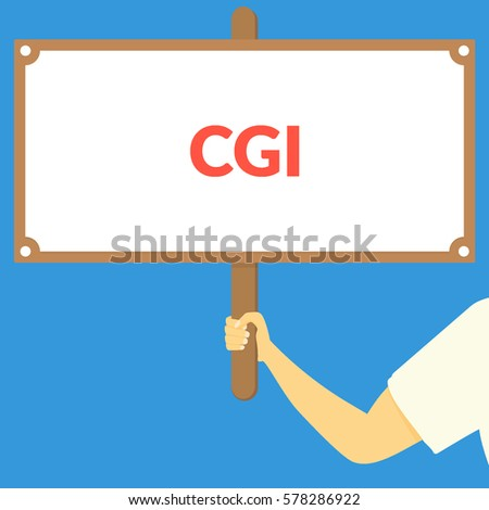 cgi hand holding wooden sign