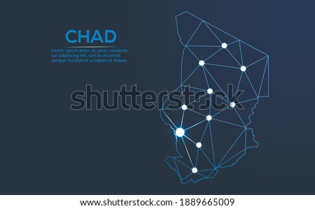 Chad communication network map. Vector low poly image of a global map with lights in the form of cities. Map in the form of a constellation, mute and stars. Photo stock ©