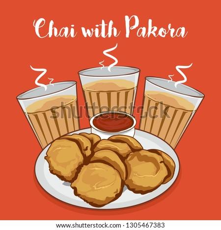 Chai or tea with pakora vector illustration. indian snacks