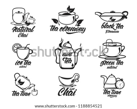 Chai, Tea set with lettering, black and white collection. Black , green , natural tea ceremony. Kettles. Vector illustration design.