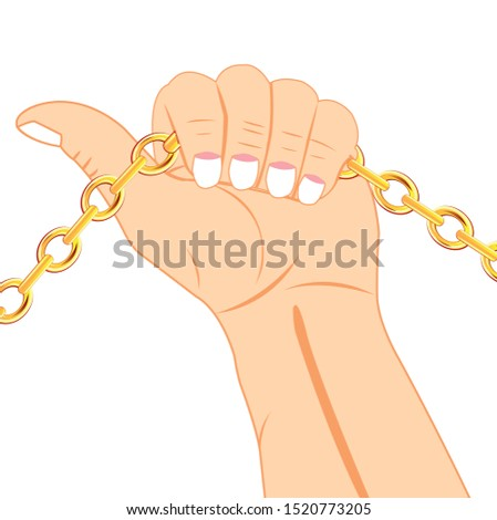 Chain from gild in hand of the person
