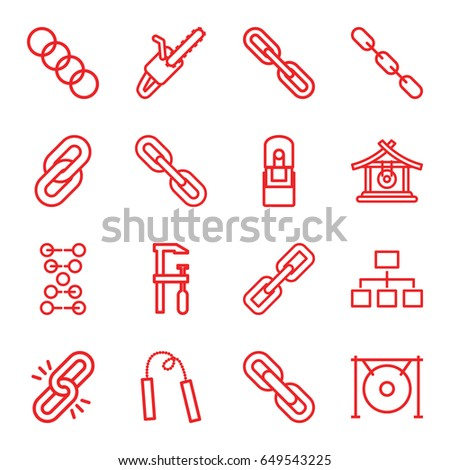 chain icons set set of 16