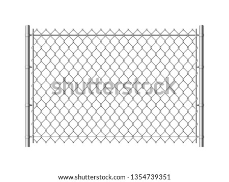 Chain link fence. Realistic metal mesh fences wire grid construction steel security and safety wall industrial border metallic texture, vector pattern
