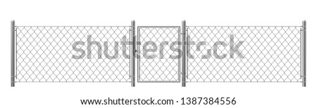 Chain-link, rabitz fence fragment with metal pillars, wicket realistic vector isolated on white background. Private and forbidden territory, protected area fencing woven from steel wire illustration