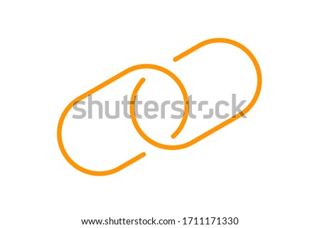 chain link symbol orange for icon, simple hyperlink link chain with line thin style, icon link chain for data ux ui website or mobile application, chain joined symbol of element signal network, vector