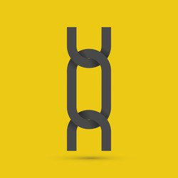 Chain links. Icon. Vector illustration EPS 10. Isolated on yellow background.