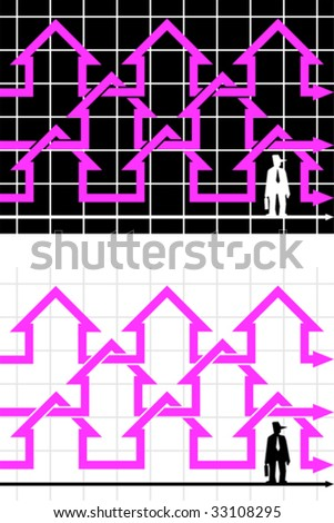 chain of diagram houses and standing businessman