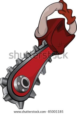 Chain saw. Cartoon