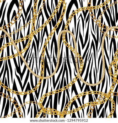 chain seamless pattern animal