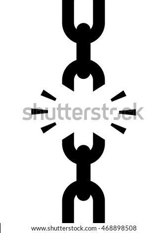 Chain with broken weak link conceptual of disrupted services or freedom in a black silhouette vector icon