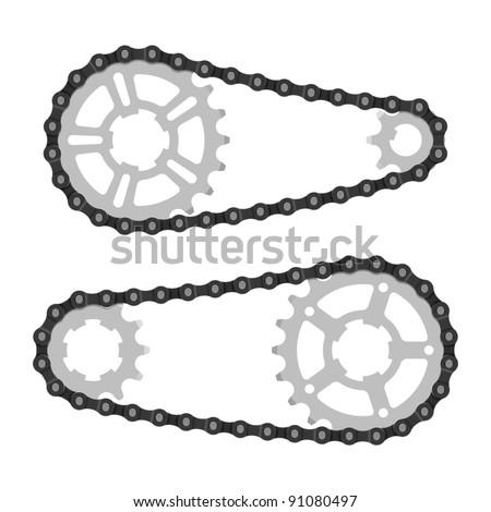 Chain with cogwheels. Vector.