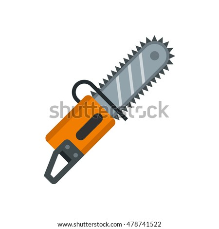 chainsaw icon in flat style