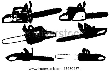 chainsaw set isolated on white