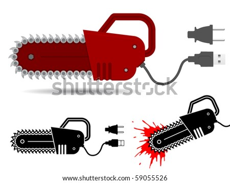 Chainsaw with usb and current cable set - vector