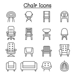 Chair and Sofa of front view icon set in thin line style