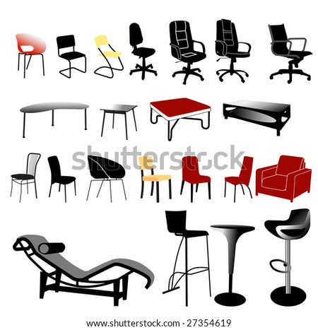 chair and table collection - vector