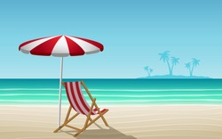 chair and umbrella on the beach in summer