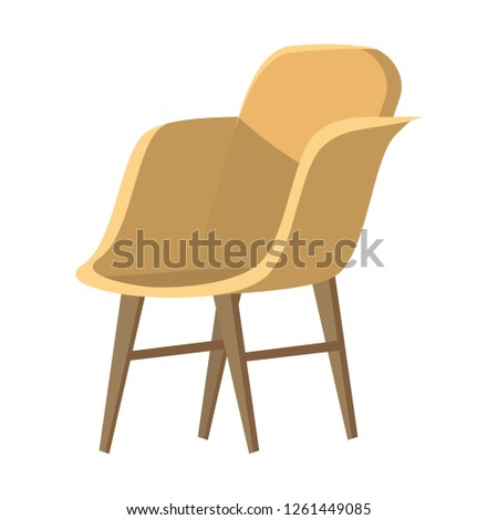 Chair cute furniture armchair and seat pouf design in furnished apartment interior illustration of business office-chair or easy-chair isolated on white background, vector, cartoon style #1261449085