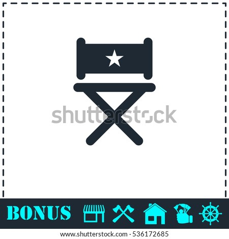 Chair icon flat. Simple vector symbol and bonus icon