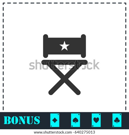 Chair icon flat. Simple vector symbol and bonus icon