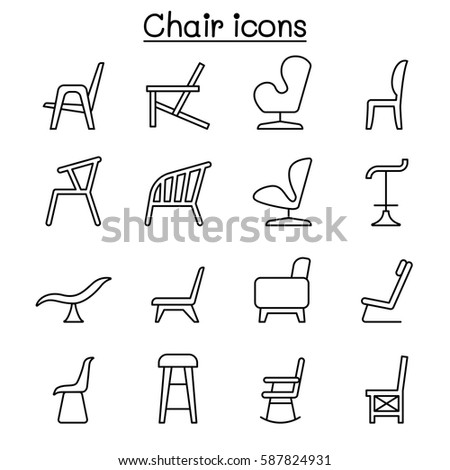 chair icon set in thin line...