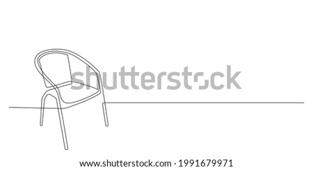 Chair in Continuous one line drawing. Interior with furniture in simple linear style. Editable stroke. Doodle Vector illustration Foto stock ©