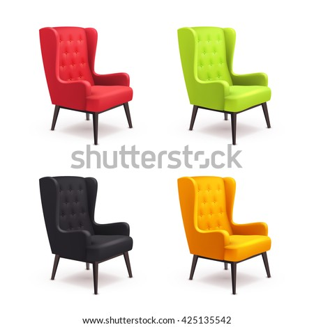 chair realistic icon set four