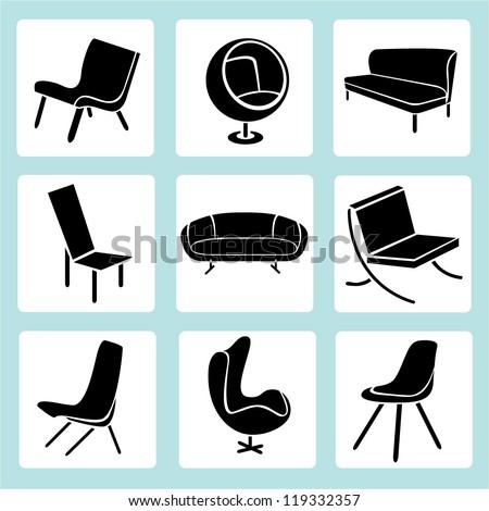 chair set, interior decoration set, furniture design set, icon set - stock vector