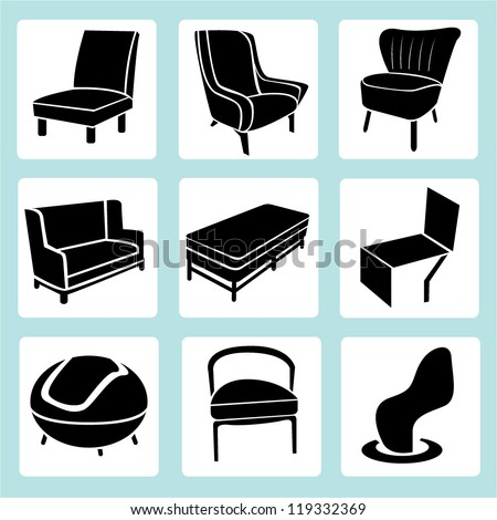 chair set, interior decoration set, furniture design set, icon set ...