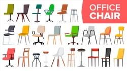 Chair Set Vector. Office Modern Desk Chairs Furniture. Different Types. Interior Seat Design Element. Isolated Illustration