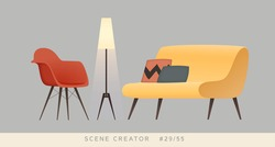 Chair, sofa, lamp. Isolated vector objects. Scene creator set.