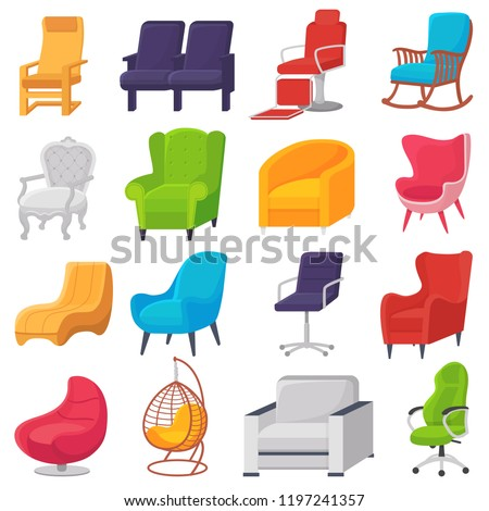Chair vector comfortable furniture armchair and modern seat design in furnished apartment interior illustration set of business office-chair or easy-chair isolated on white background