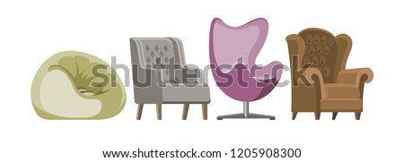Chair vector comfortable furniture armchair and seat pouf design in furnished apartment interior illustration set of business office-chair or easy-chair isolated on white background