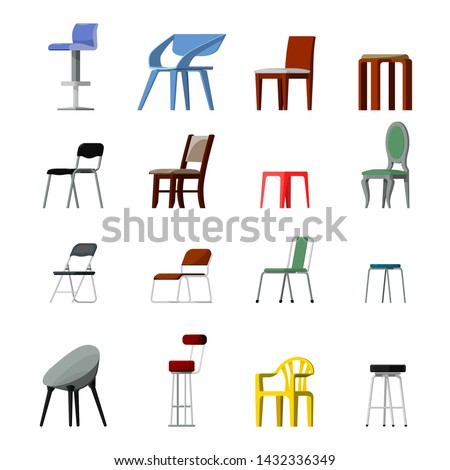 Chair vector comfortable seat in interior style design of modern office-chair and armchair illustration set of camp bar-chair and folding-chair isolated on white background