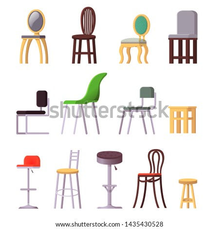 Chair vector comfortable seat in interior style modern office-chair and armchair design illustration set of camp-chair bar-chair and folding-chair isolated on white background