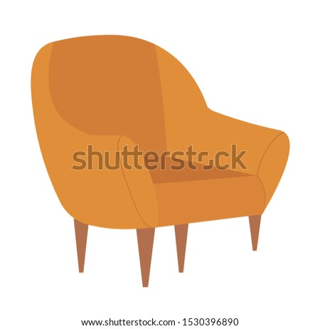 Chair with wooden legs vector, isolated armchair in vintage style, comfort in house, home interior armchair with soft texture, comfortable furniture
