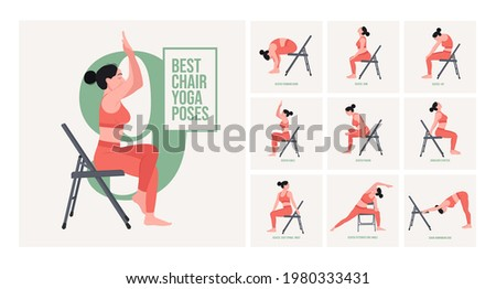 Chair yoga poses. Chair stretching exercises set. Woman workout fitness, aerobic and exercises. Vector Illustration.