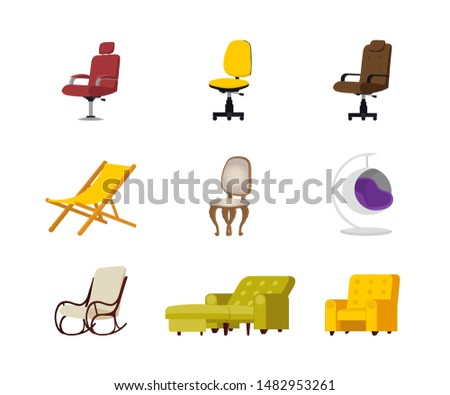 Chairs flat vector illustrations set. Modern cozy furniture, interior decoration. Office color desk chairs isolated cartoon cliparts. Comfortable luxury armchairs, beach deckchair design elements