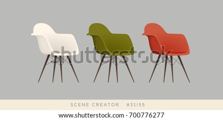 Chairs. Isolated vector objects. Scene creator set.