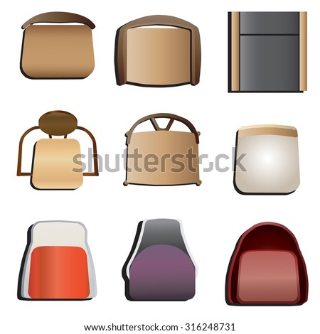 Chairs Top View Set 5 For Interior Vector Illustration