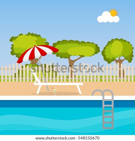 chaise longue near a home pool